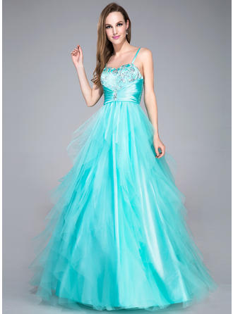 Tulle Sleeveless Ball-Gown Prom Dresses Sweetheart Beading Sequins Cascading Ruffles Floor-Length