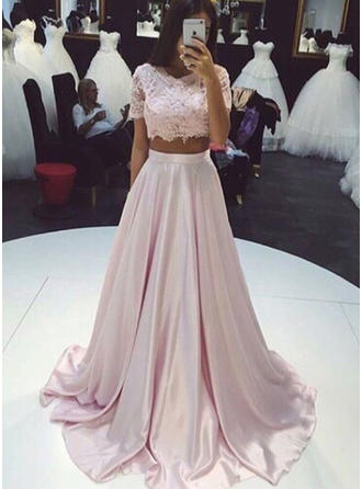 A-Line/Princess Satin Prom Dresses Newest Sweep Train Scoop Neck Short Sleeves