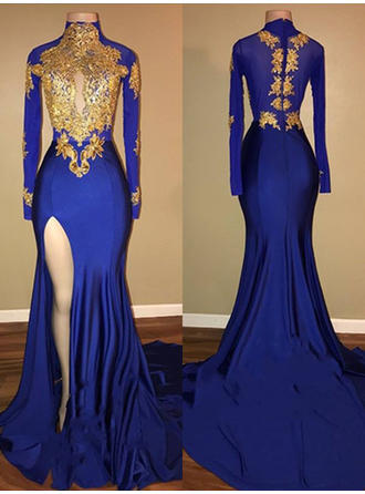 Trumpet/Mermaid High Neck Sweep Train Jersey Prom Dresses With Appliques Lace