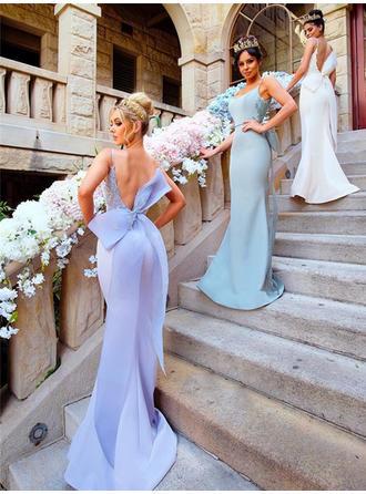 サテン Fashion マーメイド スクープネック ブライドメイドドレス (007145121)