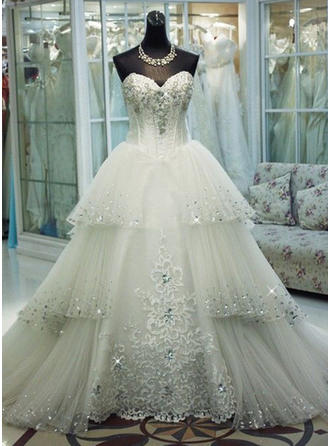 Ball-Gown Sweetheart Cathedral Train Wedding Dress With Beading Sequins Bow(s)