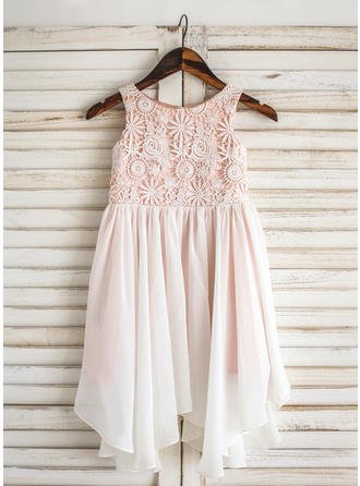 Scoop Neck A-Line/Princess Flower Girl Dresses Chiffon/Lace Sleeveless Knee-length