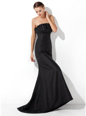 Trumpet/Mermaid Scalloped Neck Sweep Train Evening Dresses With Ruffle