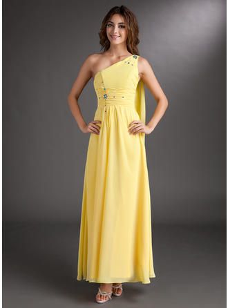 A-Line/Princess One-Shoulder Ankle-Length Prom Dresses With Ruffle Beading