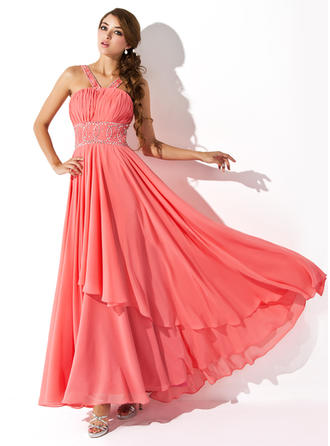 Chiffon Sleeveless A-Line/Princess Prom Dresses V-neck Ruffle Beading Sequins Floor-Length