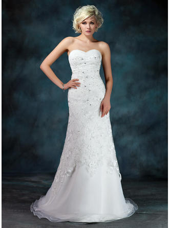 A-Line/Princess Ruffle Beading Sequins Organza Lace Court Train Three-dimensional Wedding Dresses