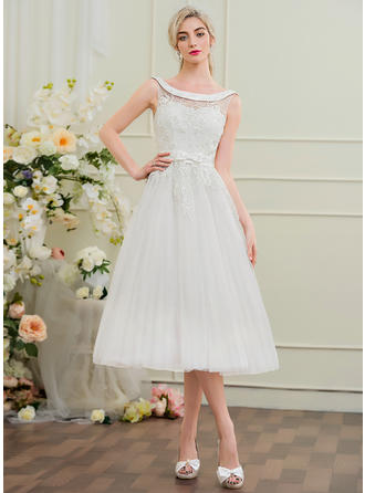 Beading Bow(s) A-Line/Princess - Tulle Lace Wedding Dresses