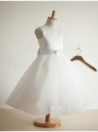Scoop Neck Ball Gown Flower Girl Dresses Satin/Tulle Beading/Bow(s) Sleeveless Tea-length