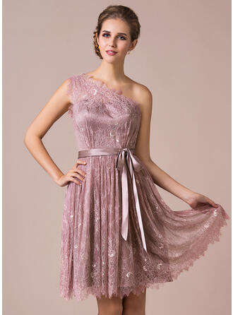 A-Line One-Shoulder Knee-Length Lace Bridesmaid Dress With Bow(s)