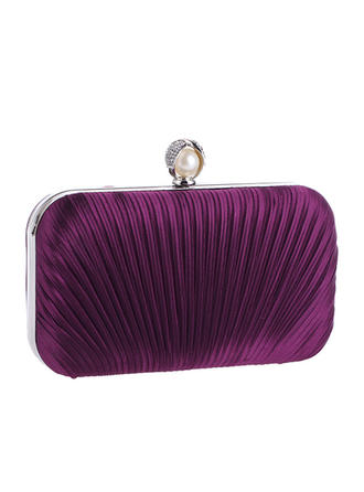 Fashion Handbags Ceremony & Party Satin Clip Closure Elegant Clutches & Evening Bags