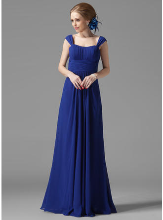 Chiffon Sleeveless A-Line/Princess Bridesmaid Dresses Scoop Neck Ruffle Floor-Length (007013956)