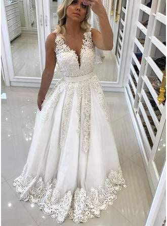V-neck A-Line/Princess Wedding Dresses Tulle Lace Beading Sleeveless Sweep Train (002218040)