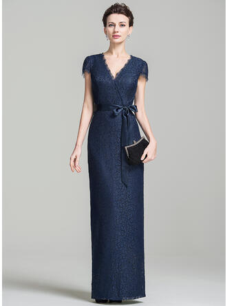 Sheath/Column V-neck Floor-Length Lace Evening Dress With Bow(s)
