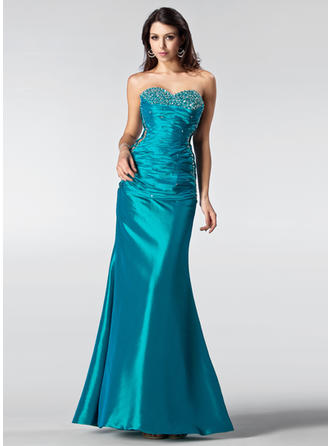 Taffeta Sleeveless Trumpet/Mermaid Prom Dresses Sweetheart Ruffle Beading Sequins Floor-Length