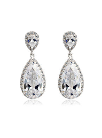 Earrings Zircon/Platinum Plated Pierced Ladies' Gorgeous Wedding & Party Jewelry