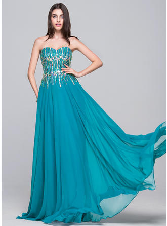 Chiffon Sleeveless A-Line/Princess Prom Dresses Sweetheart Beading Sequins Floor-Length