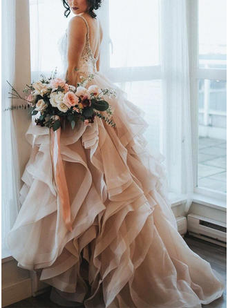 Sweep Train Cascading Ruffles Sweetheart With Organza Wedding Dresses