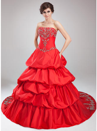 Ball-Gown Strapless Cathedral Train Taffeta Prom Dress With Embroidered Ruffle Beading