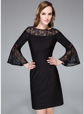 Sheath/Column Scoop Neck Lace Jersey Long Sleeves Knee-Length Cocktail Dresses