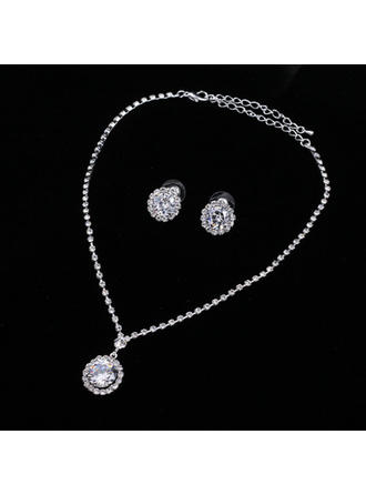 Jewelry Sets Alloy/Rhinestones Rhinestone Lobster Clasp Pierced Wedding & Party Jewelry (011167863)