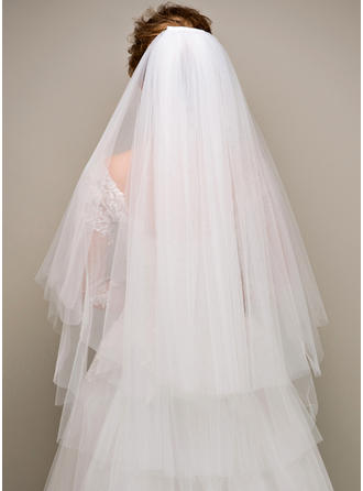 Two-tier Cut Edge Fingertip Bridal Veils (006125122)