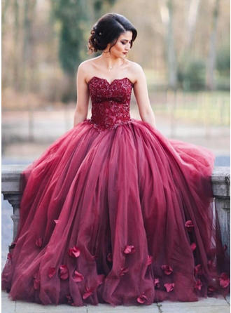 Ball-Gown Sweetheart Tulle Sleeveless Floor-Length Appliques Lace Evening Dresses