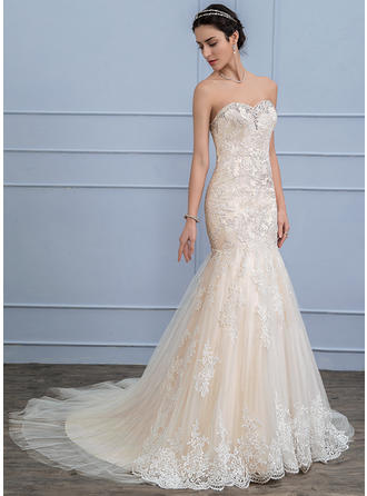 Tulle Lace Trumpet/Mermaid With Fashion General Plus Wedding Dresses