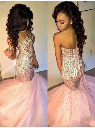 Tulle Sleeveless Trumpet/Mermaid Prom Dresses Sweetheart Sequins Sweep Train