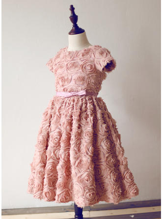 U-Ausschnitt A-Linie/Princess-Linie Blumenmädchenkleider Lace Blumen/Schleife(n) Kurze Ärmel Knielang
