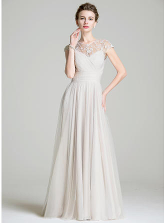 A-Line/Princess Scoop Neck Chiffon Sleeveless Floor-Length Ruffle Beading Appliques Lace Sequins Mother of the Bride Dresses