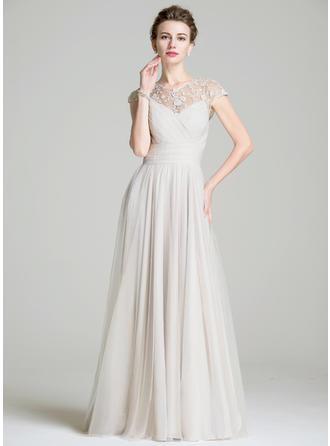 A-Linie/Princess-Linie Chiffon Ärmellos U-Ausschnitt Bodenlang Reißverschluss Kleider für die Brautmutter