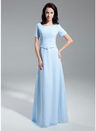 Chiffon Short Sleeves Mother of the Bride Dresses Scoop Neck A-Line/Princess Ruffle Floor-Length