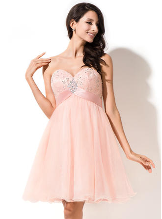 Empire Beading Sequins Bow(s) Tulle Homecoming Dresses Sweetheart Sleeveless Short/Mini