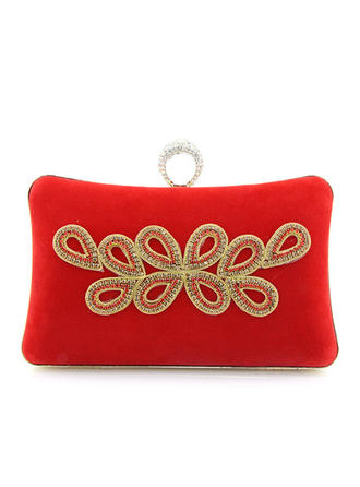 Clutches/Wristlets Wedding/Ceremony & Party/Casual & Shopping Suede Clip Closure Attractive Clutches & Evening Bags