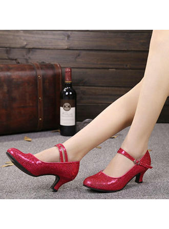 Women's Character Shoes Heels Pumps Sparkling Glitter With Ankle Strap Dance Shoes