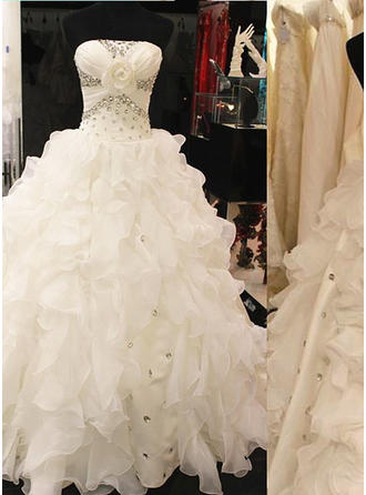 Ball-Gown Strapless Sweep Train Wedding Dresses With Beading Flower(s) Sequins