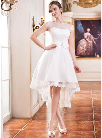 A-Line Illusion Asymmetrical Organza Wedding Dress With Lace Beading Flower(s)