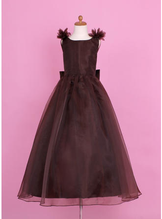 A-Line/Princess Scoop Neck Floor-length With Flower(s)/Bow(s)/V Back Organza/Charmeuse Flower Girl Dress