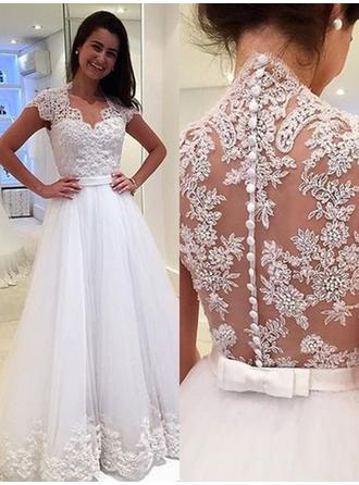 V-neck A-Line/Princess Wedding Dresses Tulle Appliques Lace Sleeveless Floor-Length