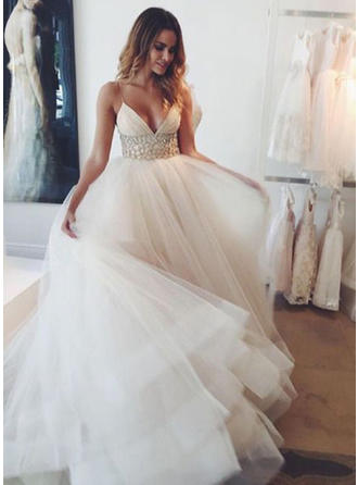 Empire Deep V Neck Court Train Wedding Dress With Beading