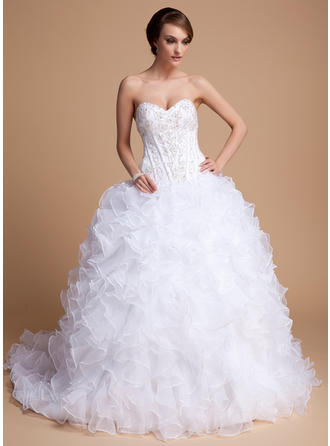 2019 New Chapel Train Ball-Gown Wedding Dresses Sweetheart Satin Organza Sleeveless
