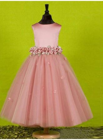A-Line/Princess Scoop Neck Ankle-length With Bow(s) Tulle Flower Girl Dresses