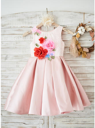 A-Line/Princess Knee-length Flower Girl Dress - Satin/Lace Sleeveless Scoop Neck With Flower(s)