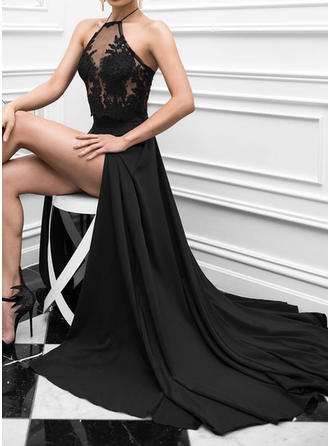 Charmeuse Sleeveless A-Line/Princess Prom Dresses Halter Lace Sweep Train