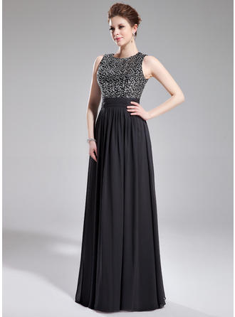A-Line/Princess Scoop Neck Chiffon Sequined Sleeveless Floor-Length Ruffle Evening Dresses