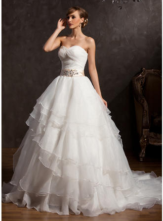 Sweetheart Ball-Gown Wedding Dresses Organza Sash Appliques Sequins Bow(s) Cascading Ruffles Sleeveless Chapel Train