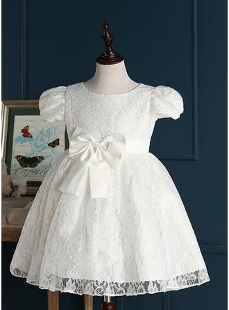 Jewel A-Line/Princess Flower Girl Dresses Lace Bow(s) Short Sleeves Short/Mini