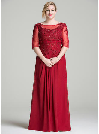A-Line/Princess Scoop Neck Chiffon Lace 1/2 Sleeves Floor-Length Ruffle Beading Mother of the Bride Dresses