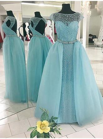 Tulle Sleeveless Ball-Gown Prom Dresses Scoop Neck Beading Floor-Length