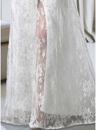 A-Line/Princess Scoop Sweep Train Wedding Dress With Lace